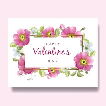 Fondo romantico della carta di san valentino felice con i fiori