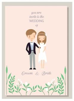 Coppie romantiche dei pantaloni a vita bassa nella carta degli inviti di nozze