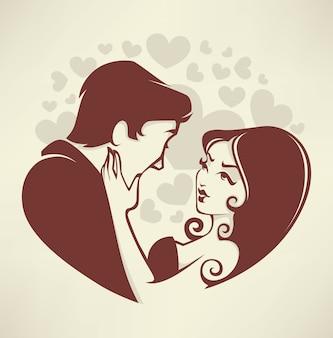 Sposa e sposo romantici di nozze delle coppie di amore Vettore Premium