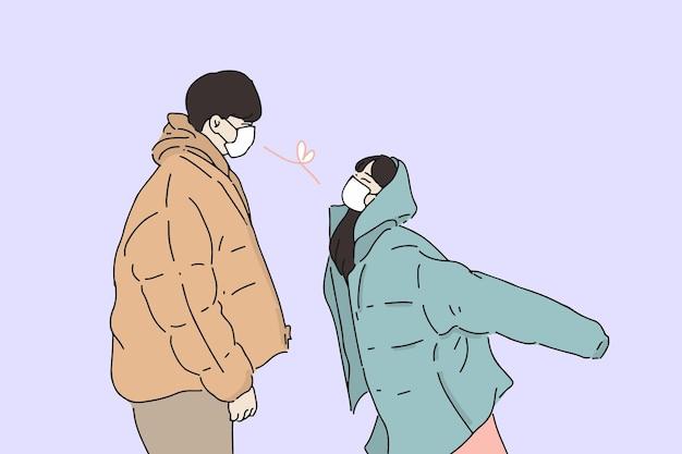 Romantico, amore, contatto visivo, giovane coppia si innamora del concetto