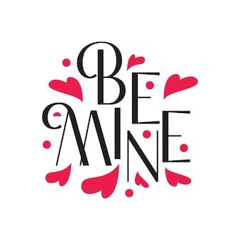 Arte di lettere tipografiche di amore romantico in free vector