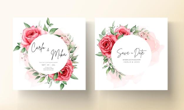 Modello di carta di invito a nozze romantico fiore marrone rossiccio