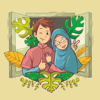 Romantica coppia musulmana che indossa abiti rosa e blu alla finestra