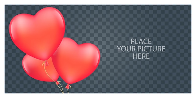 Cornice per foto romantica con palloncini a forma di cuore.