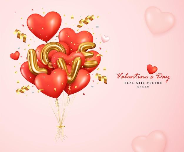 Romantico cuore di palloncini rossi e lettera d'amore