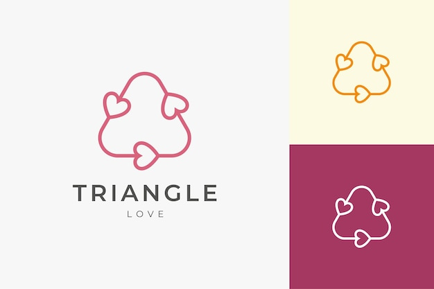 Romantico sul modello di logo della relazione in forma d'amore a triangolo pulita e semplice