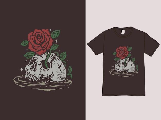 Maglietta vintage romantica con rosa e teschio