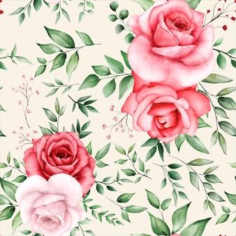 Romantico motivo senza cuciture con fiore marrone
