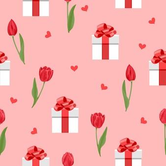Modello senza cuciture romantico con cuori di tulipani fiori rossi e scatole regalo bianche