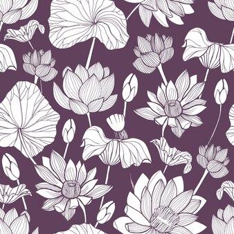 Modello senza cuciture romantico con tenero fiore di loto disegnato a mano con linee di contorno su viola