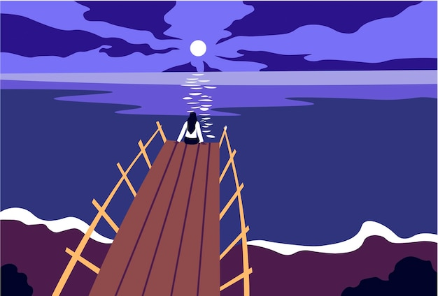 Romantica signora notturna estiva sul molo con la luna piena