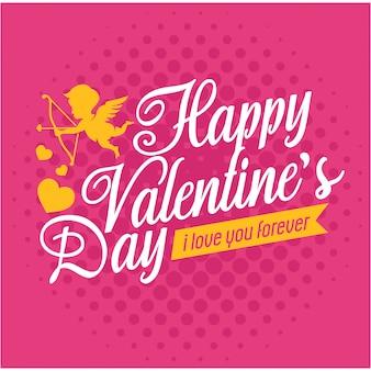 Biglietto di auguri romantico san valentino con piccola fata