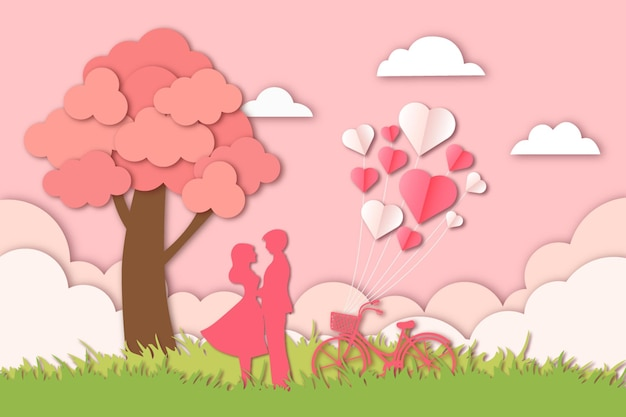 Taglio romantico della carta di san valentino