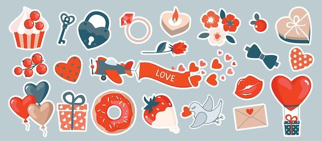San valentino romantico set con elementi: aereo, regali, cupcake, lucchetto, fiori.