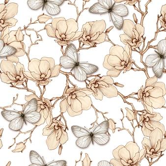 Modello senza cuciture romantico vintage magnolia e farfalle