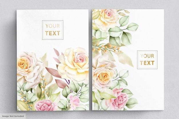 Insieme della carta di nozze floreale dell'acquerello romantico