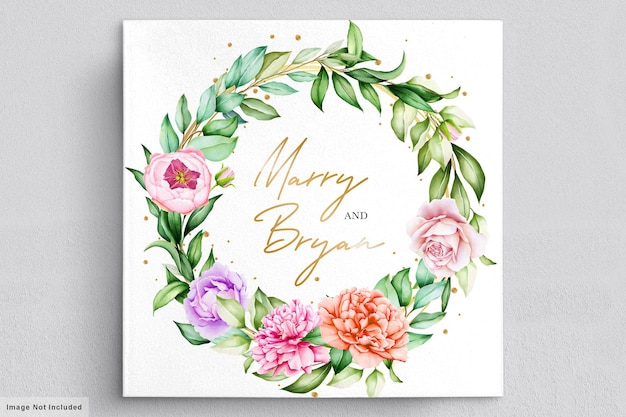 Carta di invito peonie acquerello romantico