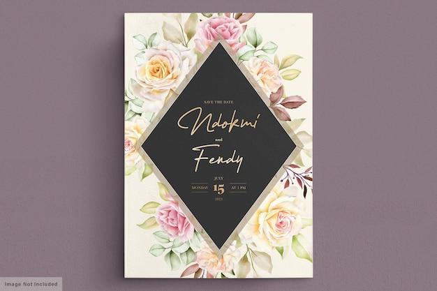 Carta di invito matrimonio romantico rose bianche dell'acquerello