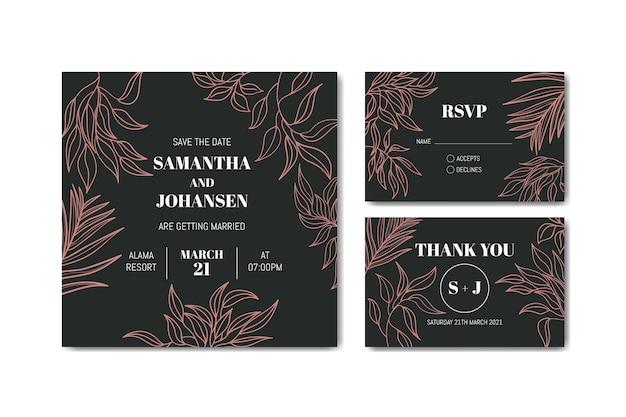 Carta di matrimonio romantico con ornamento di foglie
