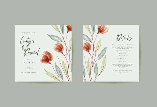 Modello quadrato di carta matrimonio romantico con acquerello floreale