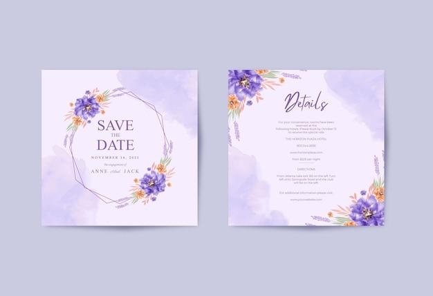 Quadrato di carta matrimonio romantico con bellissimo bouquet floreale