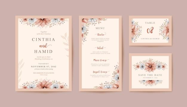 Cartoleria carta matrimonio romantico con bellissimo acquerello floreale