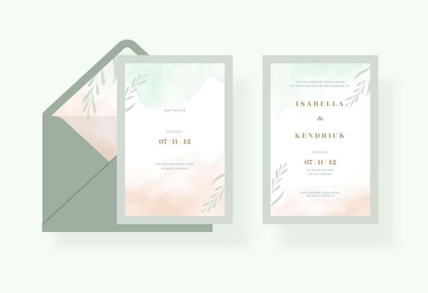 Modello di carta di matrimonio romantico con un bellissimo acquerello