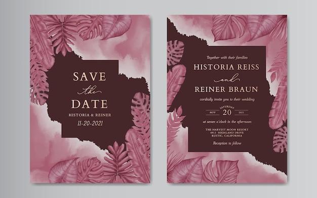 Modello di carta di matrimonio romantico con foglie di bordeaux bordeaux tropicale dell'acquerello