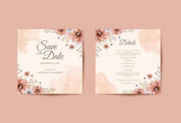 Quadrato di carta invito matrimonio romantico con bellissimo acquerello floreale