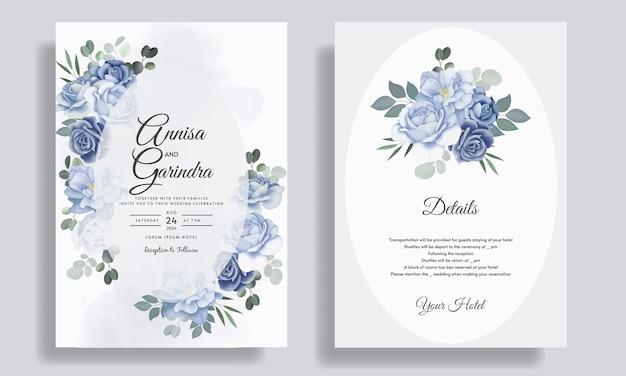Modello di carta di invito matrimonio romantico impostato con foglie floreali blu