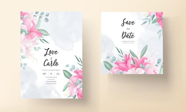 Biglietto d'invito per matrimonio romantico con bellissimi fiori e foglie di giglio