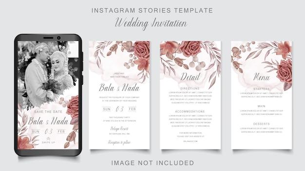 Modello romantico di storie del instagram dell'invito di nozze con l'ornamento floreale