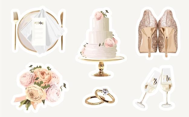 Collezione di adesivi per matrimoni romantici con elementi in oro e glitter