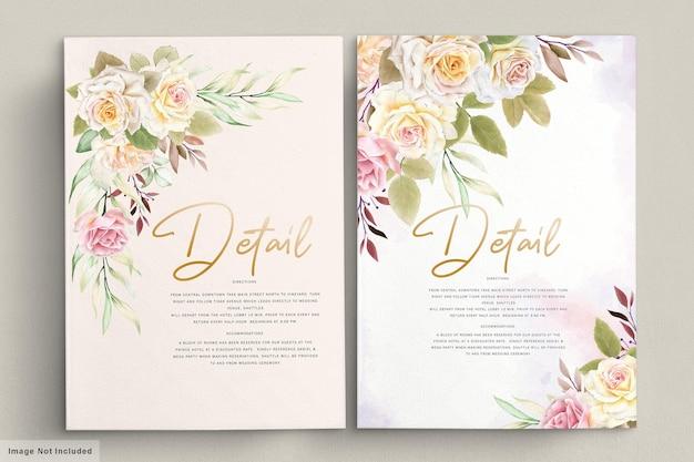 Insieme romantico della carta di nozze dell'acquerello delle rose bianche