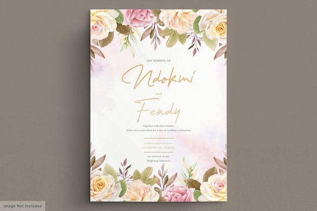 Carta di nozze dell'acquerello di rose bianche romantiche