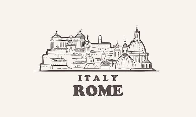 Schizzo di paesaggio urbano di roma disegnato a mano, italiaita