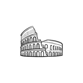 Icona di doodle di contorni disegnati a mano del colosseo di roma. famoso punto di riferimento italiano, viaggio e concetto di anfiteatro antico