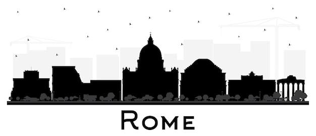 Roma italia skyline della città silhouette con edifici neri isolati su bianco. illustrazione