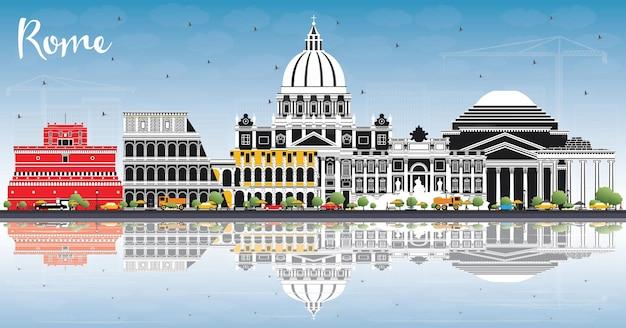 Orizzonte della città di roma italia con edifici di colore, cielo blu e riflessi. illustrazione di vettore. viaggi d'affari e concetto con architettura storica. paesaggio urbano di roma con punti di riferimento.