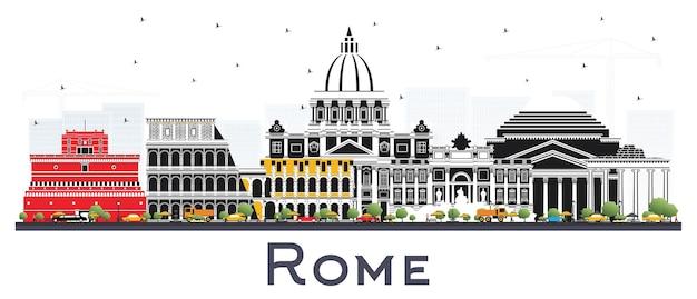 Orizzonte della città di roma italia con edifici di colore isolato su bianco. illustrazione di vettore. viaggi d'affari e concetto con architettura storica. paesaggio urbano di roma con punti di riferimento.