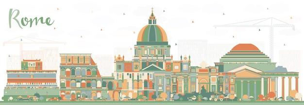 Orizzonte della città di roma italia con edifici di colore. illustrazione di vettore. viaggi d'affari e concetto con architettura storica. paesaggio urbano di roma con punti di riferimento.