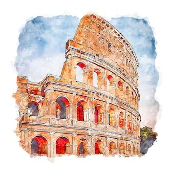 Illustrazione disegnata a mano di schizzo dell'acquerello di roma italia