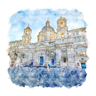 Disegnato a mano di schizzo dell'acquerello di roma lazio italia
