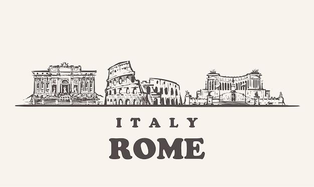 Orizzonte di roma, illustrazione dell'annata di italia, edifici disegnati a mano di roma su priorità bassa bianca.