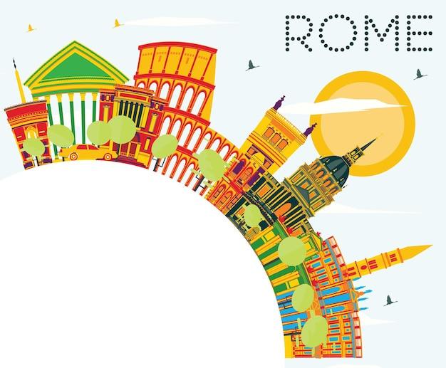 Orizzonte di roma con edifici di colore, cielo blu e spazio di copia. illustrazione di vettore. viaggi d'affari e concetto di turismo con architettura storica. immagine per cartellone banner di presentazione
