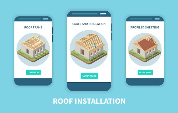 App dell'azienda per l'installazione di tetti 3 schermi isometrici per smartphone con rivestimento in profilo di isolamento con struttura in legno