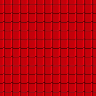 Modello senza cuciture delle tegole del tetto. sfondo di profili di scandole rosse. illustrazione vettoriale.