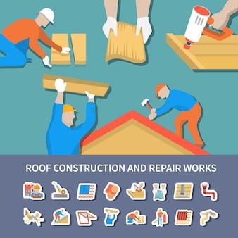 Roofer composizione piatta e colorata