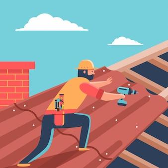Copertura del tetto di riparazione del roofer sulla casa. uomo del fumetto con l'illustrazione del carattere del cacciavite.