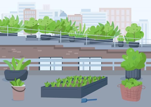 Illustrazione di colore di giardinaggio sul tetto. luogo urbano all'aperto per coltivare piante in vaso. coltiva la vegetazione all'esterno. esterno del fumetto del tetto del grattacielo edificio con paesaggio urbano sullo sfondo